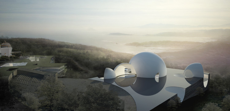 台湾CHINPAOSAN公墓 - 最终的归宿/ STEVEN HOLL ARCHITECTS, View of Oceanic Pavilion towards the Pacific Ocean. Image Courtesy of Steven Holl Architects