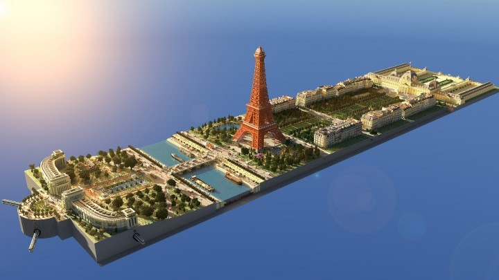 15个由Minecraft创造的不可思议建筑壮举, Modelo de la Torre Eiffel en Minecraft. Image via LanguageCraft