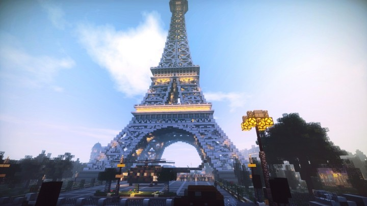 Alrededores de la Torre Eiffel en Minecraft. Image via LanguageCraft