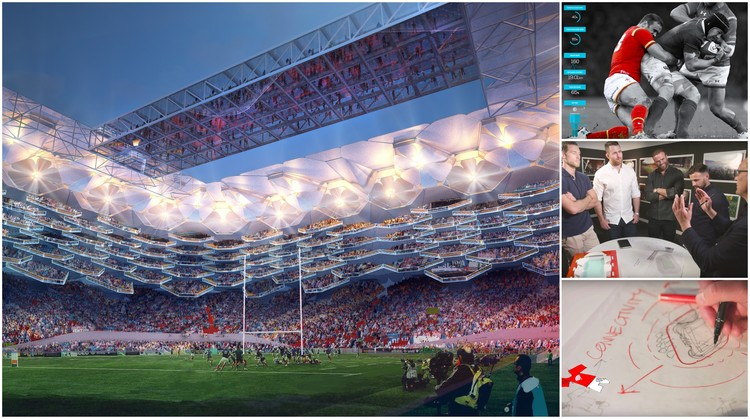 橄榄球传奇球星与HOK共同设计未来体育馆, The design of the perfect rugby stadium was a collaboration between HOK and four rugby legends.  图片致谢HOK