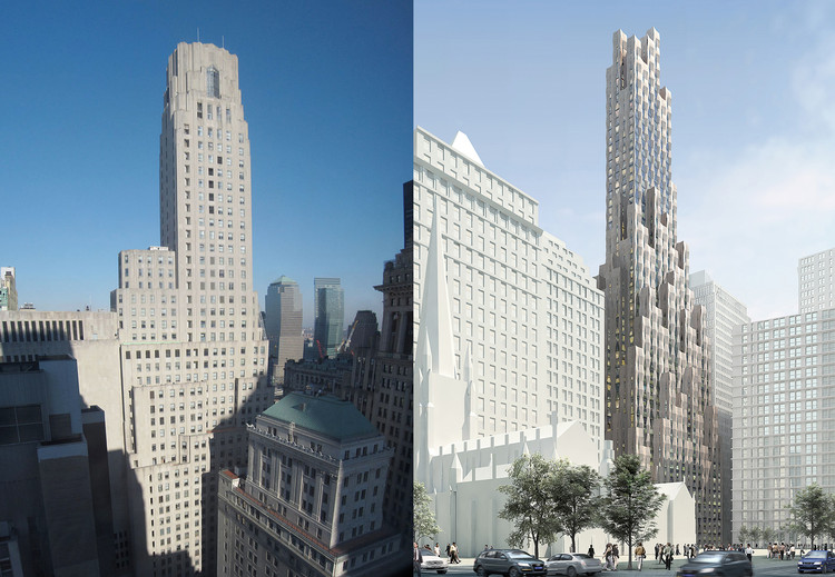 New(er) York 建筑狂想:假使纽约历史建筑穿越到现代会怎样?, One Wall Street, before and after. Images: left, <a href='https://commons.wikimedia.org/wiki/File:1_Wall_Street_panoramic.jpg'>Via Wikimedia</a> in public domain; right, Courtesy of Hollwich Kushner