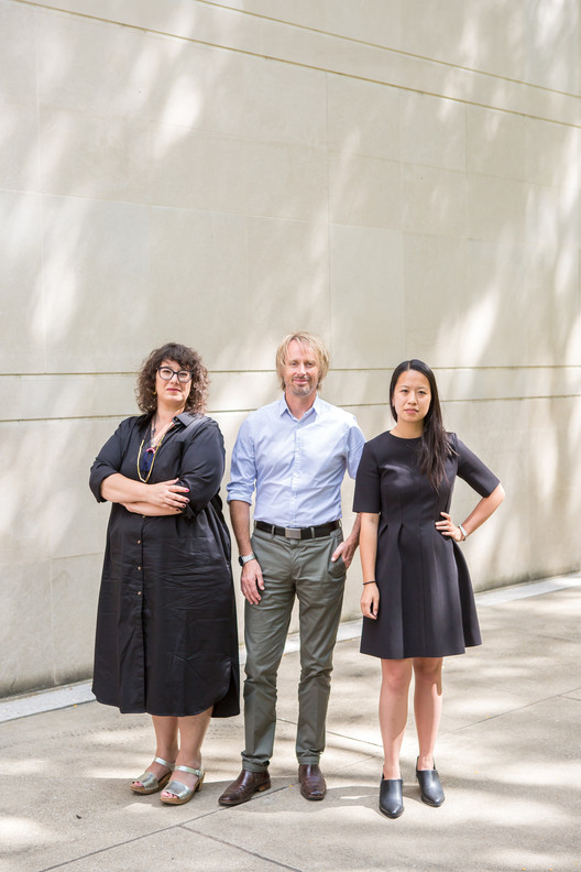 Curators from left to right: Mimi Zeiger, Niall Atkinson, Ann Lui. Image by Nancy Wong
