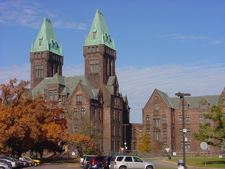 The New York State Asylum, now the Richardson Olmsted Complex at the Buffalo State Hospital. Image © Wikimedia user Shinerunner licensed under CC BY-SA 3.0