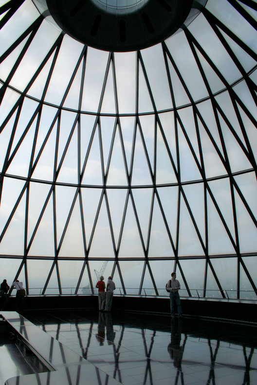 The top floor of 30 St Mary Axe, also known as the Swiss RE Building or the Gherkin, in London. Image © <a  data-cke-saved-href=