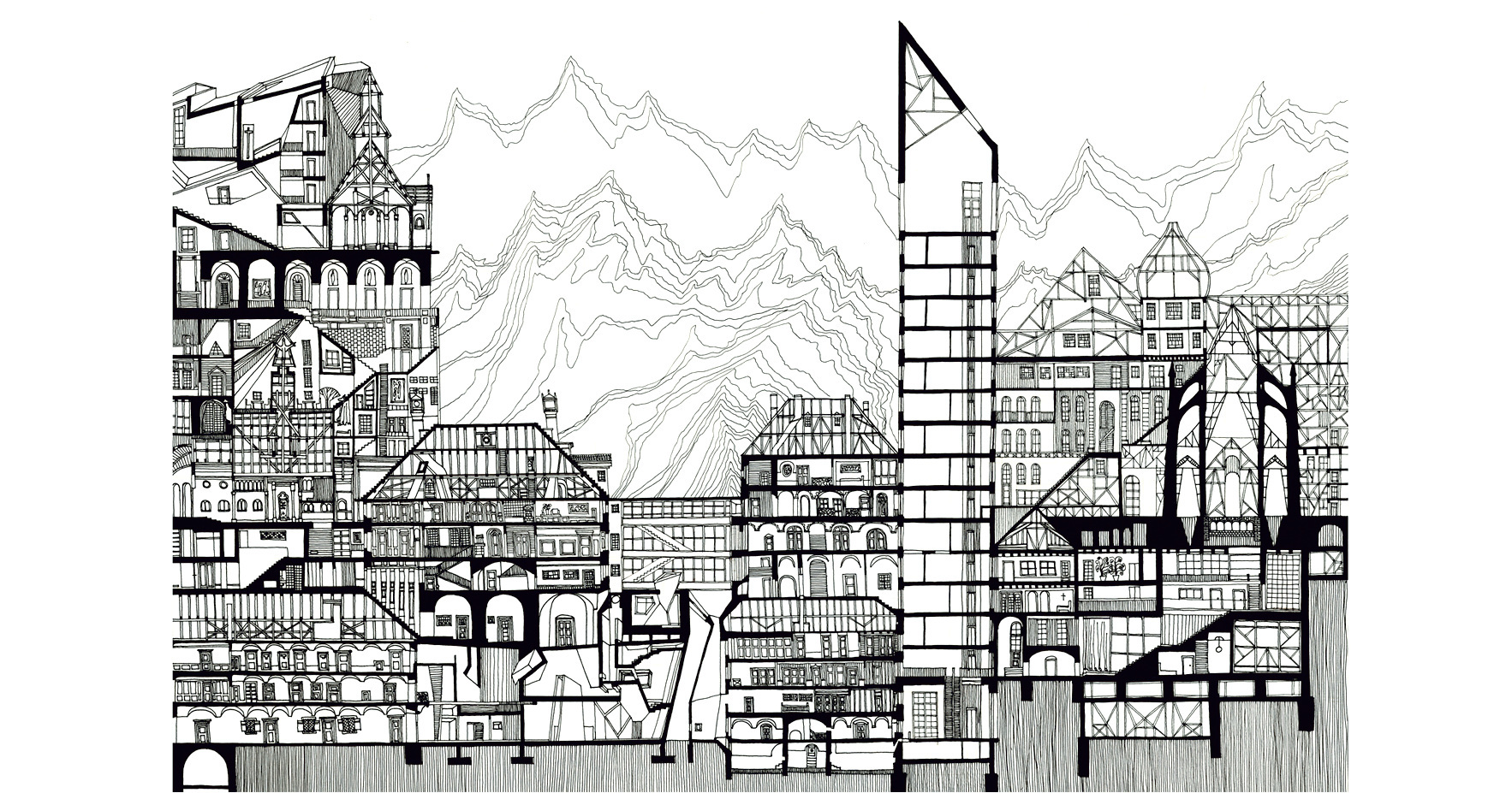 Simple Line Art Example : 画城市地图,绘城市密度 archdaily