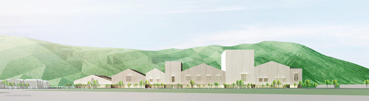 Fujimoto's vision for the new Ishinomaki City Cultural Center calls for a single structure that evokes the feel of a cluster of buildings. Image Courtesy of SFA