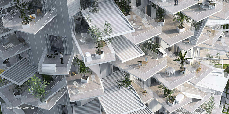 "藤本壮介""社区观"",利用相似建筑元素构建新型社区社会, Architecture meets the outdoors in Sou Fujimoto's L'arbre Blanc housing tower, under construction in Montpeller, France. Image Courtesy of SFA+NLA+OXO+RSI"