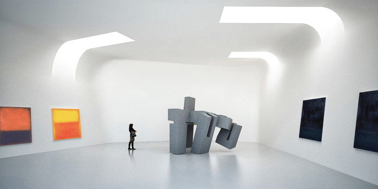 The gallery spaces house temporary and permanent exhibits.图片致谢 Steven Holl