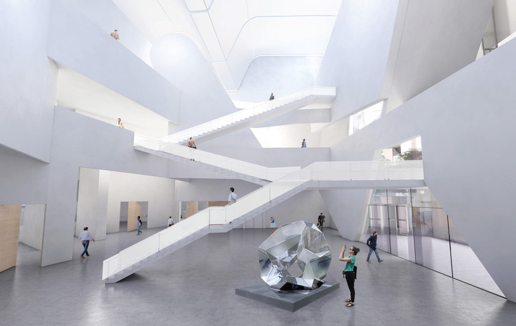 A central atrium gives space for exhibitions.图片致谢 Steven Holl