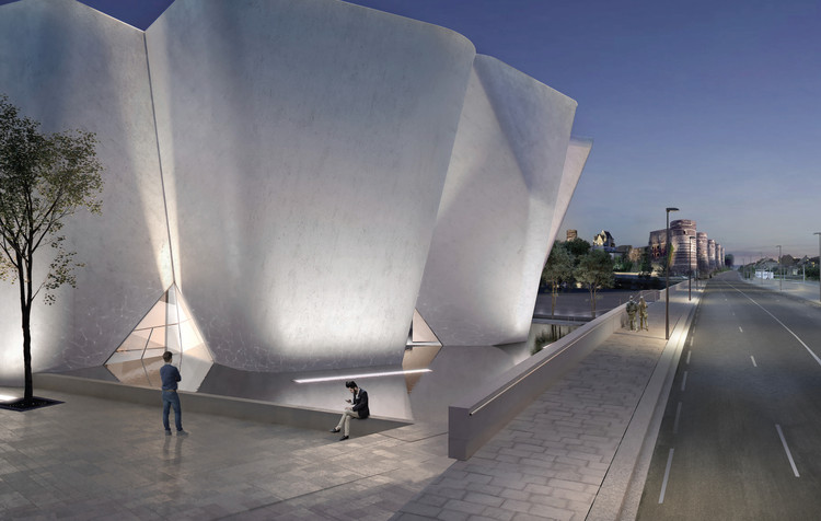 The white concrete museum is inspired by an adjacent fortress. 图片致谢 Steven Holl