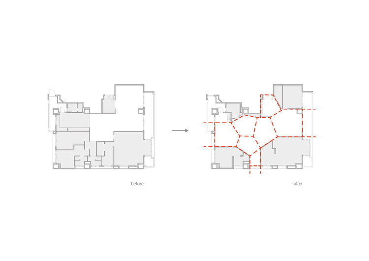 Existing floor plan and altered floor plan