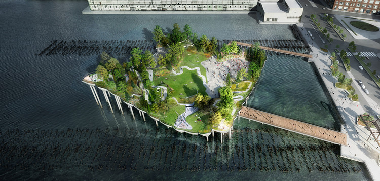 "幾經波折,Heatherwick""哈德遜河55號碼頭""項目重新啟動!, ? Pier55, Inc. and Heatherwick Studio, Renders by Luxigon"