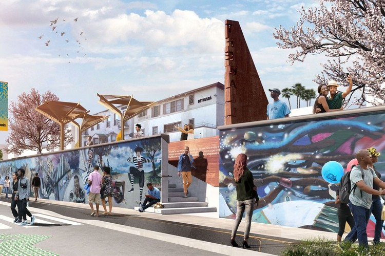 Perkins + Will将为洛杉矶设计一个长达一英里的户外博物馆, Destination Crenshaw. Image Courtesy of Perkins + Will