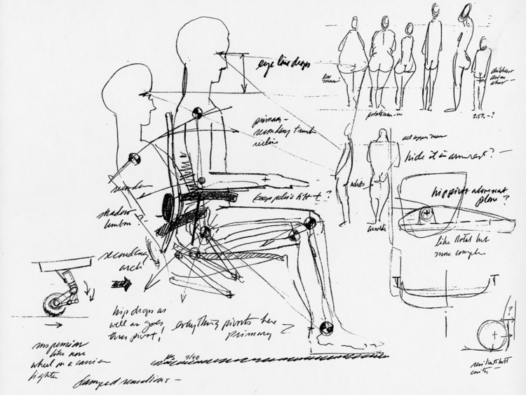 解读人体尺度,做最人性化设计, Sketches by Bill Stumpf, that show his desire to design a chair that works for all kinds of bodies. Image Courtesy of Herman Miller