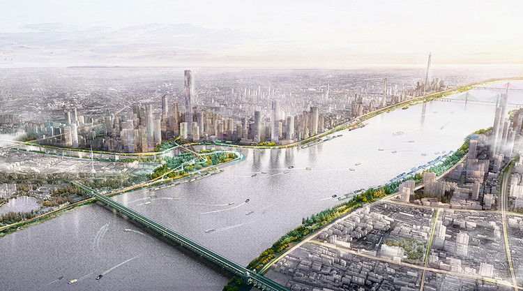 Sasaki公布武汉长江江滩改造规划, The Yangzte Riverfront is an integral part of Wuhan's open space network, and is designed to celebrate the river's spontaneity.. Image Courtesy of Sasaki