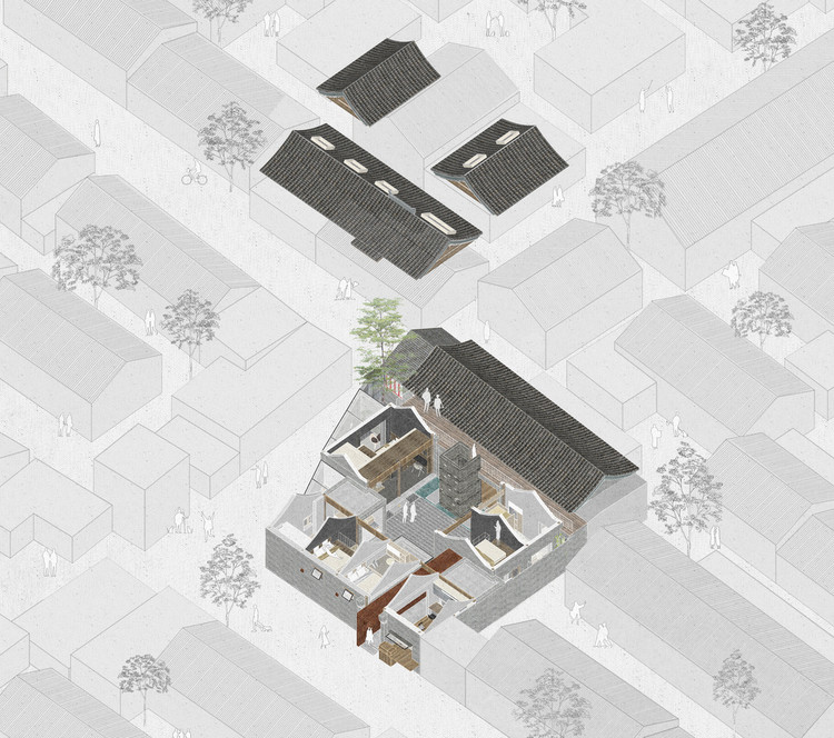60幅最佳住宅軸測圖, White Pagoda Temple Hutong Courtyard Renovation / B.L.U.E. Architecture Studio