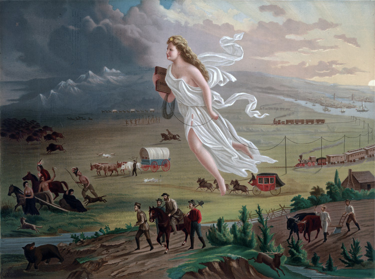 "理想主义是美国城市规划的动力, John Gast illustrates the westward expansion of the United States in his 1872 allegorical painting ""American Progress"". Image © United States Library of Congress's Prints and Photographs division, under Public Domain"