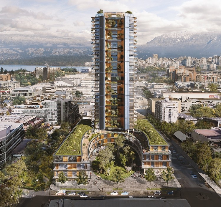 木材指南:如何用木材建造高层建筑, Canada Earth Tower is designed to rise 40 stories, and the wooden skyscraper would be the tallest of its kind in the world.. Image Courtesy of Perkins + Will / Delta Land Development