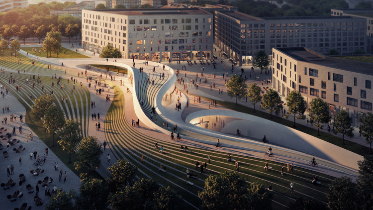 12个建筑后期渲染的教程, Fornebu Senter Station East Entrance. Image © VA, Cortesia de Zaha Hadid Architects