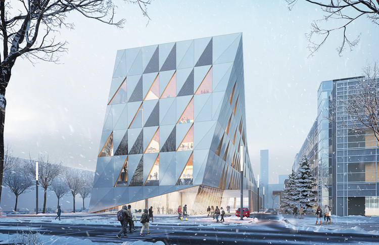 Perkins + Will 彩色棱镜表面设计赢得多伦多约克大学竞赛!, The School of Continuing Studies will frame an architectural gateway at the South edge of the Campus. Image Courtesy of Perkins + Will