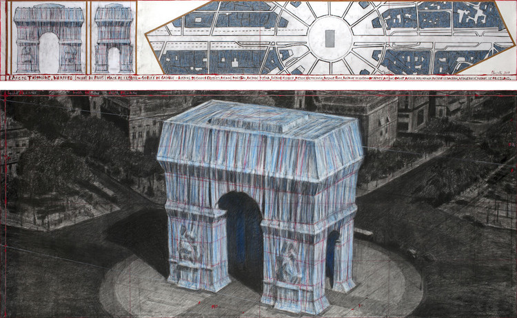"保加利亚视觉艺术家为凯旋门换上""新衣"", 身着蓝色织物, Christo, L'Arc de Triomphe, Wrapped (Project for Paris) Place de l'Etoile – Charles de Gaulle, 2019. Imagem por André Grossmann, © 2019 Christo"