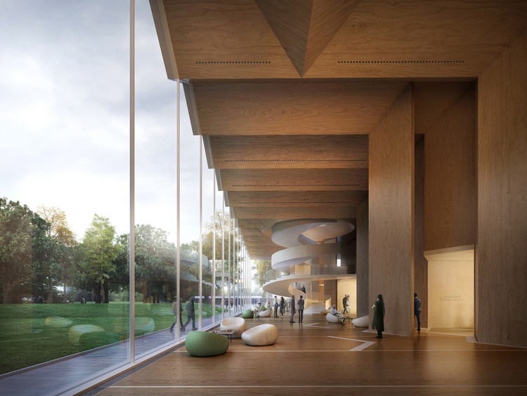 CLT交叉层压木板的实验性应用, Gilles Retsin and Stephan Markus Albrecht's Nuremberg Concert Hall proposal takes advantage of the project's location in the Bavaria region a Germany, an area known for its abundance of timber. Image© Filippo Bolognese