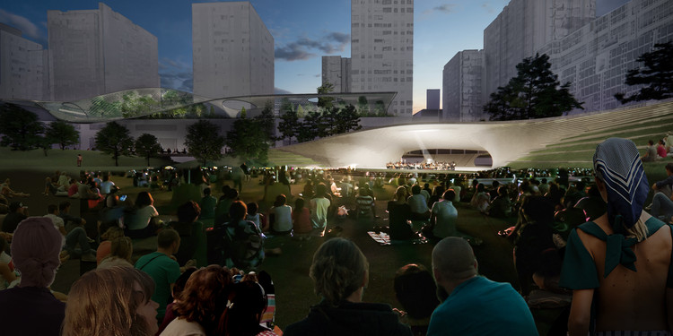 """DS+R竞赛联合体赢""""马德里AZCA金融区""""竞赛, Acoustic Shell for Events at the Central Green from East. Image Cortesía de Equipo de Diseño"""